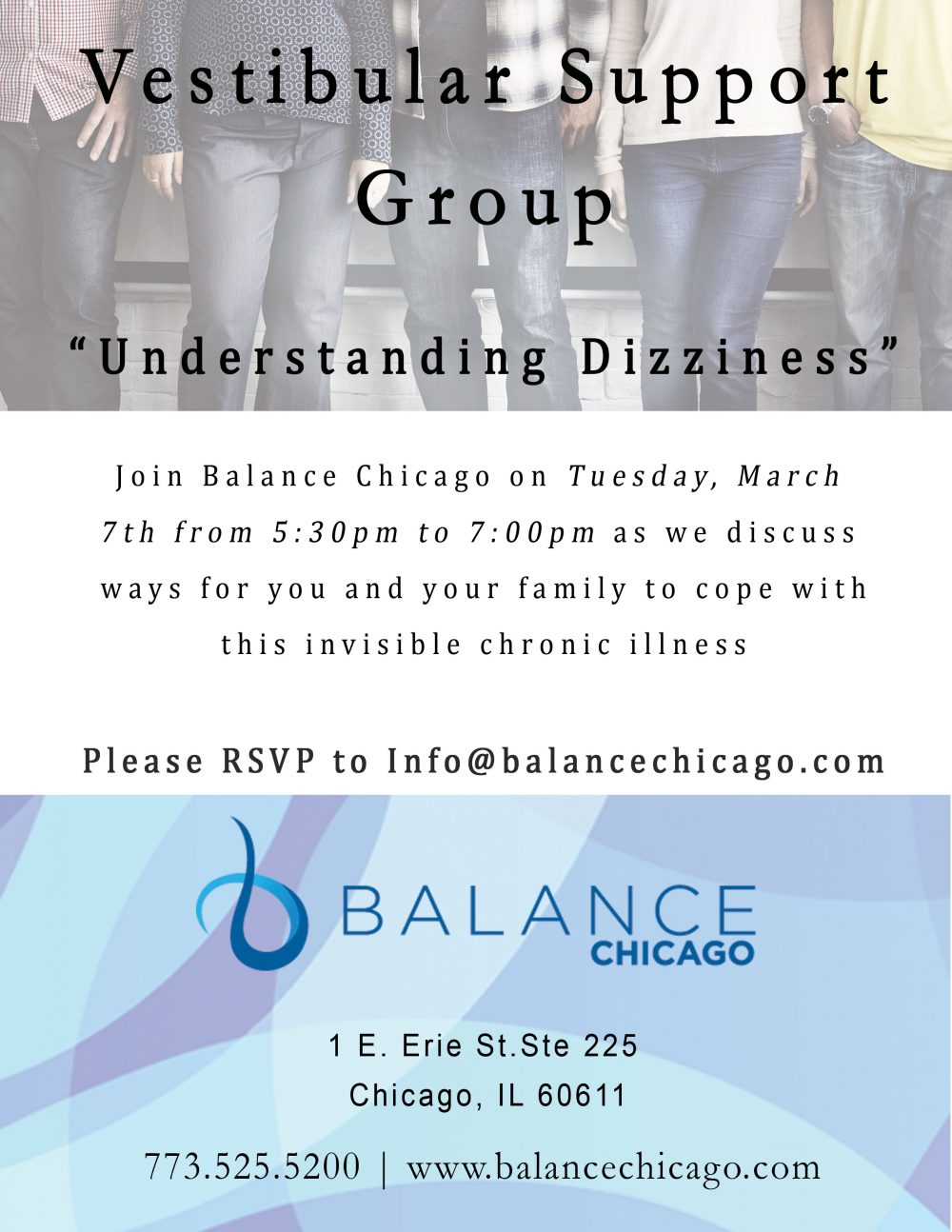 Join us for our next vestibular support group on March 7th.