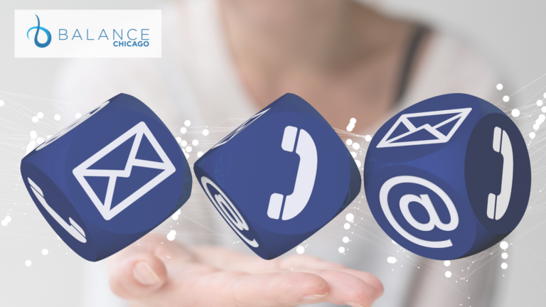 Photo of email, phone and contact logos