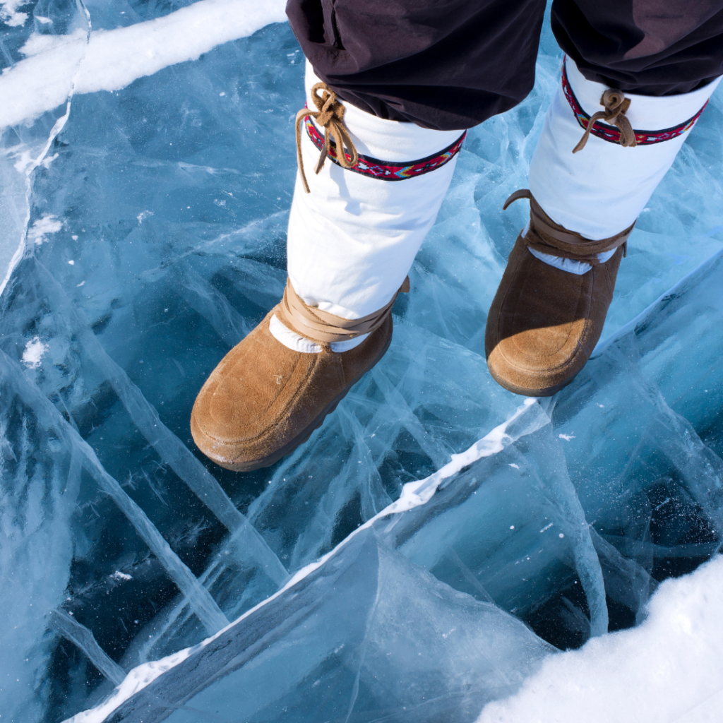 photo of boots on ice